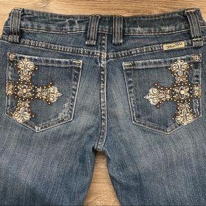 Miss Me Rhinestone Cross Bootcut Jeans Size 30